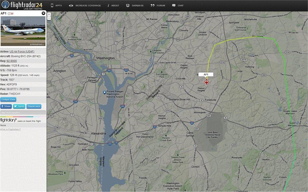 ワシントン上空を飛行するエアーフォースワン